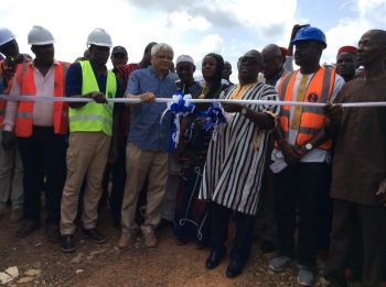 After cutting the ribbon to one of the twenty- nine million United States dollars Water Treatment plant,Internal Affairs Minister Varney Sirleaf who proxied for President George M.Weah,flanked by LWSC Managing Director Duannah Kamara,USAID country Director Anthony Chan,Nimba county Superintendent Do